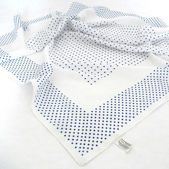 White with Blue Polka Dots Vintage Scarf - Ghostly White - Geometrical