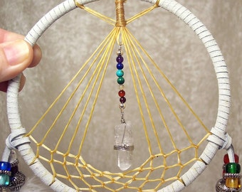 5 Inch CHAKRA TEEPEE GUARDIAN Dreamcatcher in White by Feathered Dreams