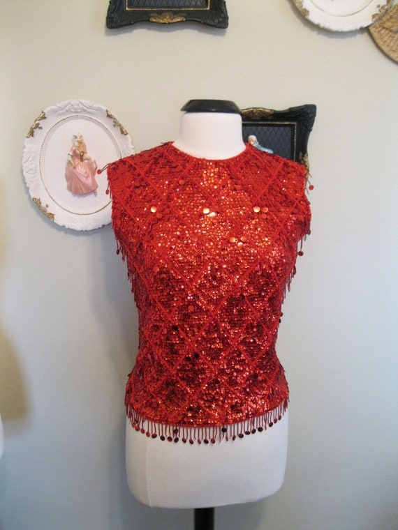 Vintage Red Bead and Sequin Tank 1960sreserved for tatianasometimes