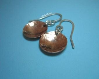 """copper 1/2"""" curve disc earrings"""