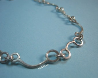 Bar n various Loops chain sterling silver necklace