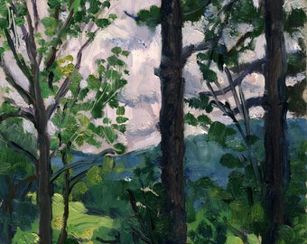 Summer Trees at the Clark, Stone Hill. 6x9 Realist Oil Painting Landscape, Signed Original Oil on Panel, Berkshires Impressionist Fine Art