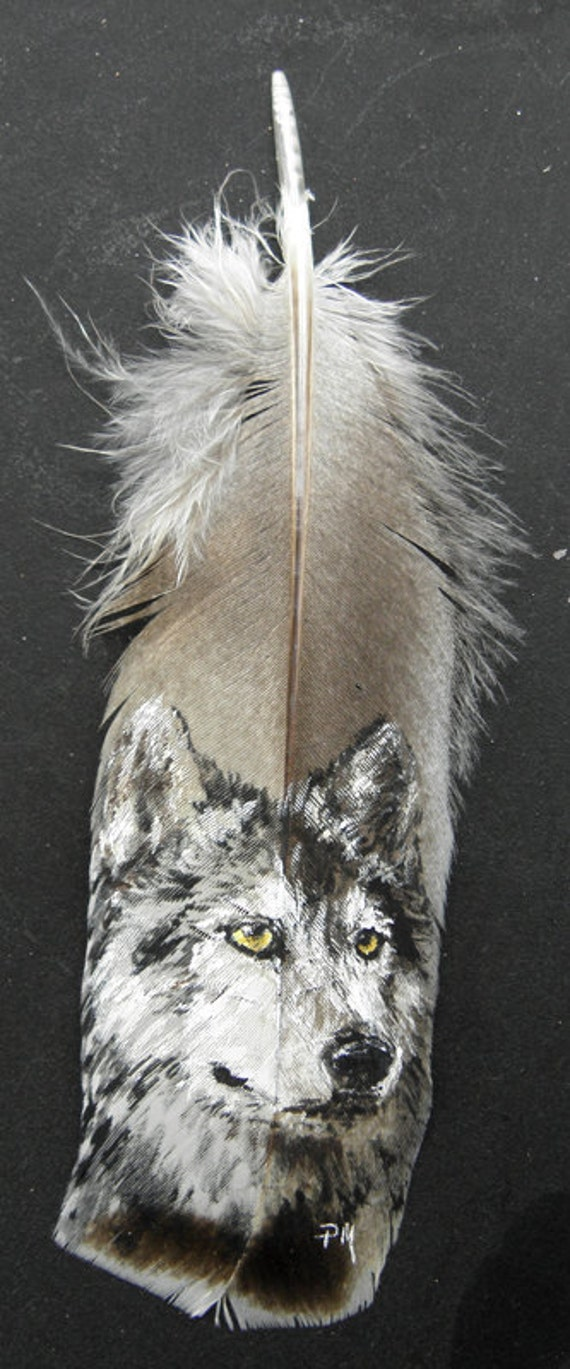Wolf Portrait Hand Painted on Turkey Feather, Framed