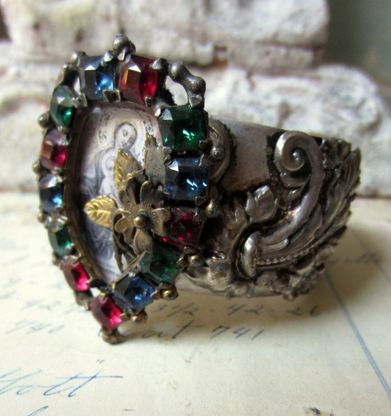 roman cathedral cuff - vintage assemblage bracelet with art deco rhinestone prayer card by the french circus