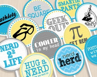 NERD Party Circles & Cupcake Toppers- Instant Printable Download