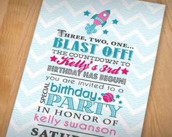 SPACE ROCKET Girl Birthday Printable Invitation in Pink And Teal