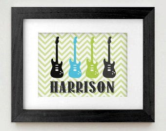 ROCK GUITAR Personalized Printable Art in Turquoise Aqua Blue, Lime Green, and Black