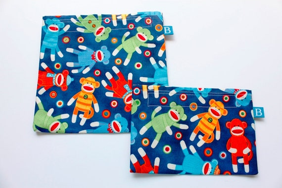 Reuseable Eco-Friendly Set of Snack and Sandwich Bags in Sock Monkey Fabric