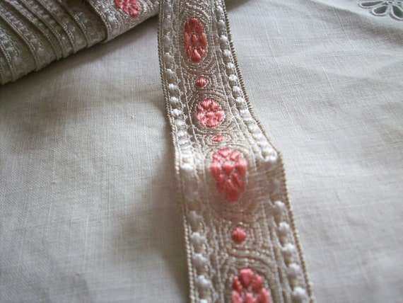 1 yard of metal antique silver trim with rose medallions,  more avail.