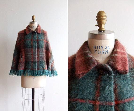 SALE / Vintage 1960s mohair cape with fringe