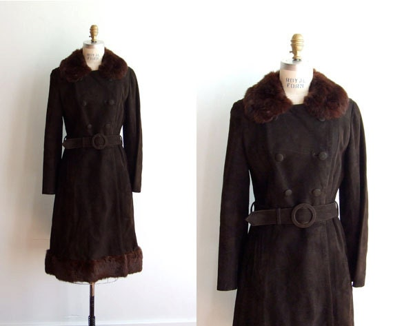 Reserved ~ 50% OFF SALE / Vintage 1960s brown suede princess coat with fur hem and collar