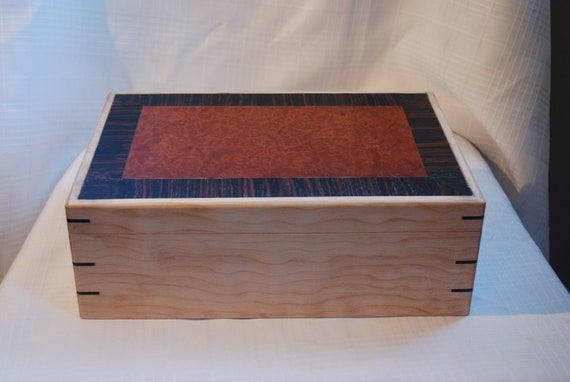 Sale Priced Artistic  Keepsake Box with a Stunning Redwood Burl top and Quilted  Maple box