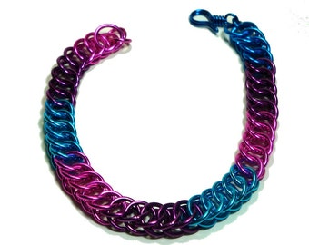 Chainmaille Jewellery, Half Persian Chainmail Bracelet in Pink, Purple and Blue
