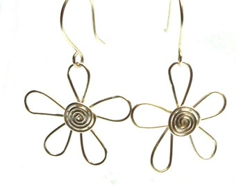 Wire Flower Earrings, White Silver Aluminum Wire, Or Choose Your Color