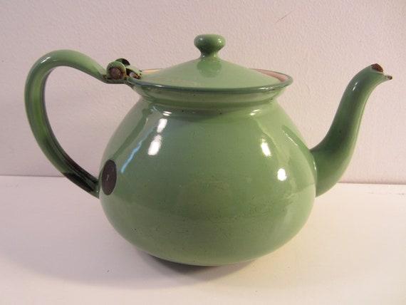 Green Enamel Teapot  Shabby Chippy Rusty