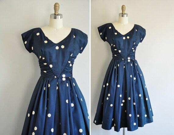 50s dress / vintage 1950s dress / 50s silk polka designer dress
