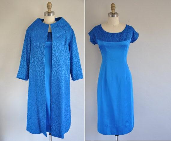 r e s e r v e d...vintage 1950s 2pc designer cocktail dress / 50s cobalt blue satin dress / Darling Dear