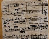 COASTERS :  Vintage Sheet Music set of 4 Italian stone coasters