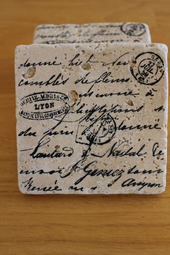 COASTERS :  VINTAGE SCROLL set of 4 Italian stone coasters