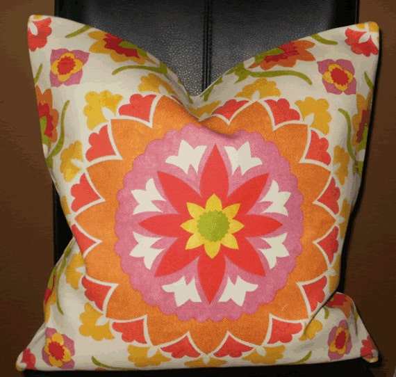 Large Decorative Outdoor Pillows : Decorative Outdoor Pillow Cover: Large Suzani Sunburst