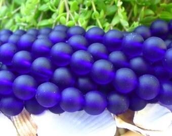 "8"" Royal Blue 8mm sea beach velvet glass beads matte frosted medium round"