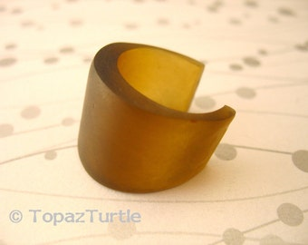 Chocolate brown resin ring jewelry , broad resin ring cuff  , wrap resin ring jewellery , adjustable hand made jewelery by topazturtle