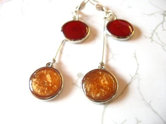 Red copper resin earrings jewelry , double silver disc dot earrings long dangle earrings Australia round twin double ear rings chandelier