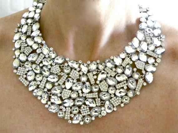 Bridal Statement Necklace, Wedding Necklace, Rhinestone Statement Necklace, Wedding Jewelry, Crystal Bridal Necklace