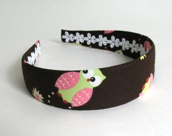 Brown Owl Fabric Covered Headband for Girls Adults, Thanksgiving Headband, Back to School Headband