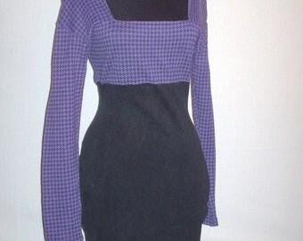 Vintage 1980s Houndstooth Dress Purple