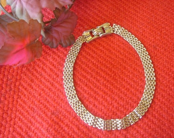 16 Inch Long Gold Costume Jewelry Choker Necklace from the 60s