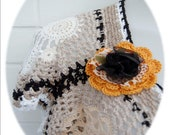 SALE Vintage Used Recycled and New crocheted doilies Vest with detachable black flower brooch