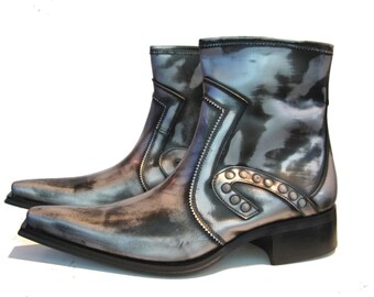 Vintage 1990s Mens Pewter Rub-off Leather Ankle High Chelsea Beatle Boots from Spain Men's Euro 42 / US 8 1/2