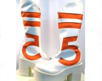 Vintage Luichiny White Cyber Glam Platform Club Kid Boots Wms size 7
