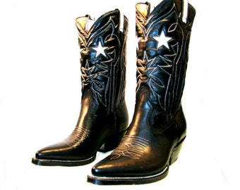 Vintage Cowboy Boots With White Leather Star Inlay Mens Rockabilly Western Boots Mns US  Size 10