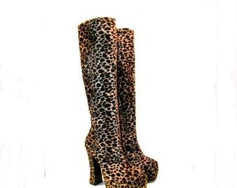 Knee High Leopard Boots Womens Cheetah Print Faux Fur Platform Boots Wms US size 7