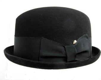 Vintage Mans Hat Black Stingy Brim Fedora Hat size 6 7/8 Small
