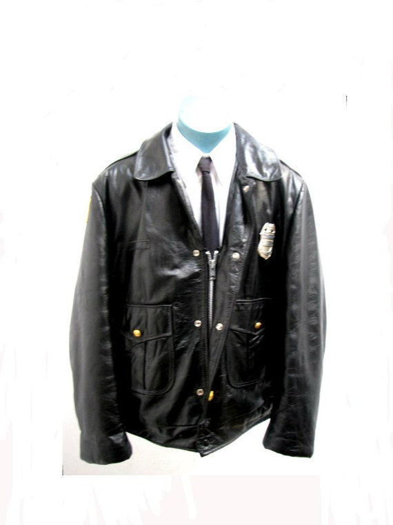 Vintage Police Leather Jacket DeCommissioned Chicago Police Men's size 50