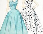 McCalls Dress Pattern 9792 - Vtg 1950s Misses' Coctail or Day Dress - SZ 14/Bust 32