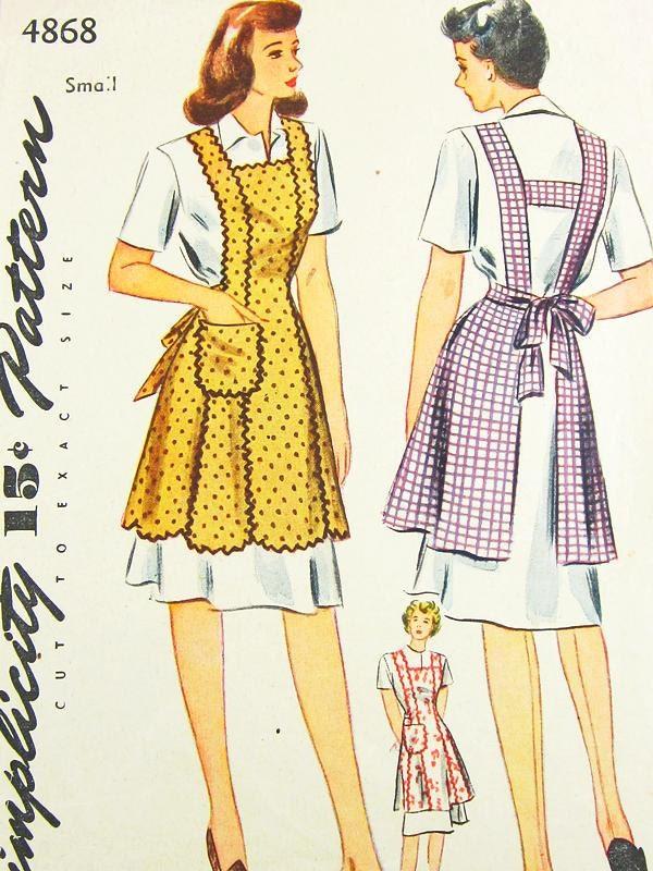 Vintage Apron Pattern Simplicity 4868 Vtg 1940's