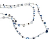 Nautical Navy Blue Sapphire crochet wrap bracelet long layers rope lariat bracelet necklace silver grey navy blue pearls crystals