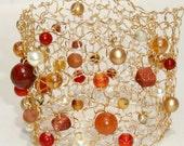 Harvest Cuff Modern Knit Wide Gold Bracelet Fall Fashion Fire Jade Autumn Mustard Orange Rust Goldstone