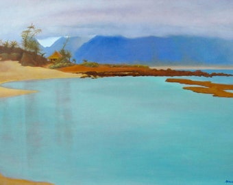 Gratitude - original oil painting reproduction of Baby Beach, Maui, Hawaii - stunning cobalt blue and cobalt teal seascape - landscape