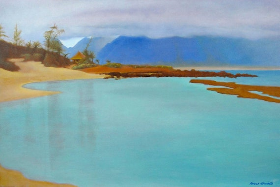 Maui art - Gratitude - original oil painting of Baby Beach, Maui, Hawaii - stunning cobalt blue and cobalt teal seascape - landscape
