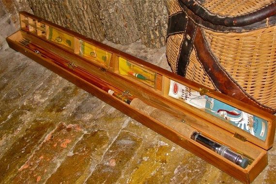 Vintage Bamboo Fly Fishing Rod And Wooden Box Case