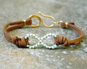 Mint Green Infinity Bracelet Wire Wrapped Gold Brass and Suede Made to Order
