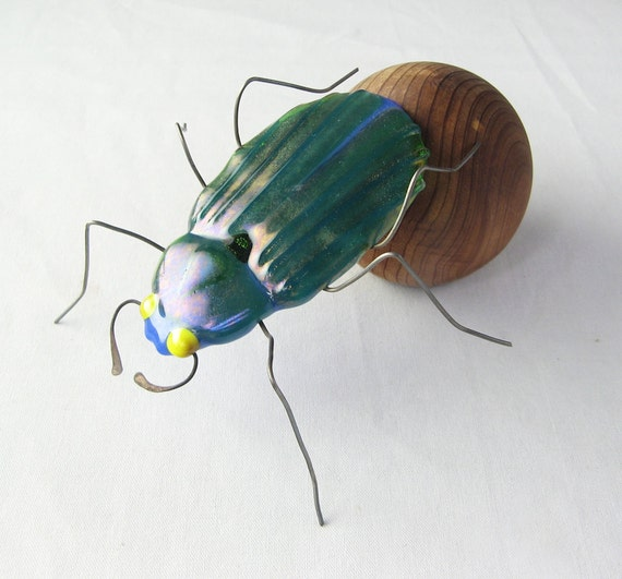 Dung Beetle with Dung Ball Sculpture Fused Glass and Woodwork