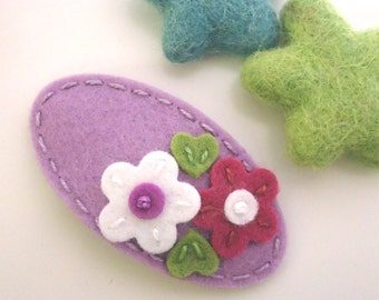 Felt hair clip -No slip -Wool felt -Double daisy -lilac