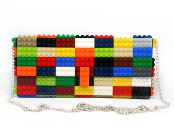 Multicolor clutch purse on a chain made with LEGO® bricks FREE SHIPPING purse handbag legobag trending fashion