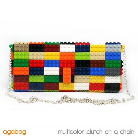 Multicolor clutch purse on a chain made with LEGO® bricks FREE SHIPPING purse handbag legobag trending fashion
